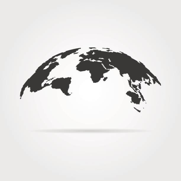 simple world map icon with shadow - global communications stock illustrations, clip art, cartoons, & icons