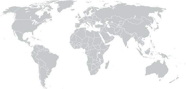 Simple World Map in Gray