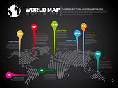 Simple World map infographic communication template with pointer marks, light vector version