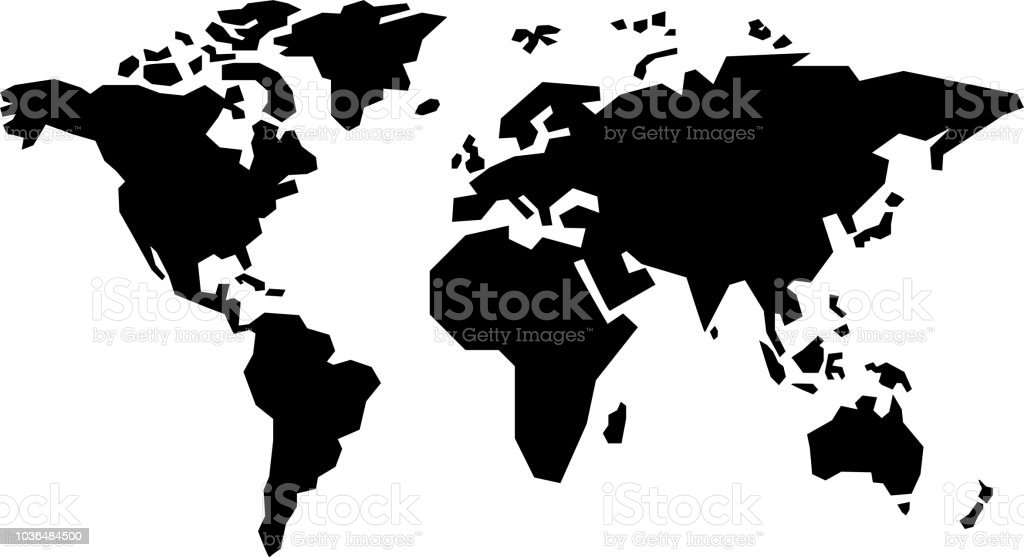 Simple World Map Stock Illustration - Download Image Now on blue world map vector, simple world map vector, black white world map vector, detailed world map vector,