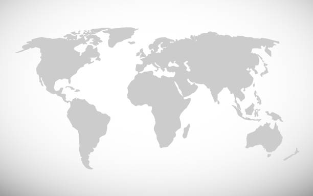 간단한 세계 지도 벡터 일러스트 레이 션 - 단순함 stock illustrations