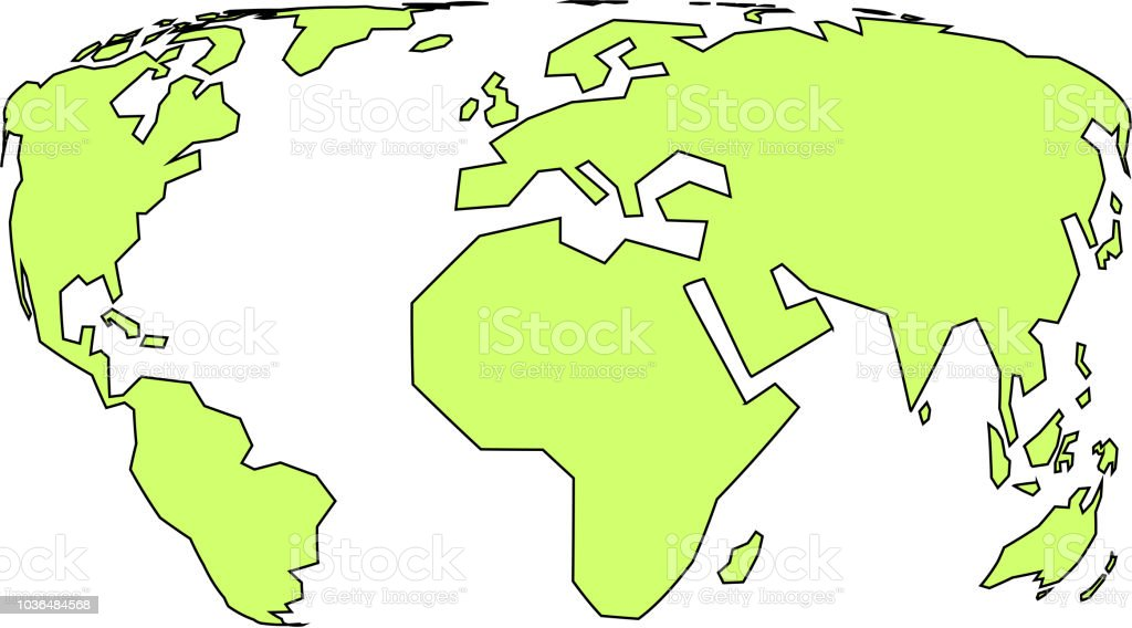 Simple World Map With Fisheye Lens Style Stock Vector Art More