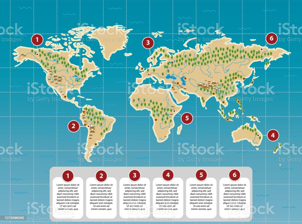 Simple World Map With Rivers Mountains Major Capitals Flat ...