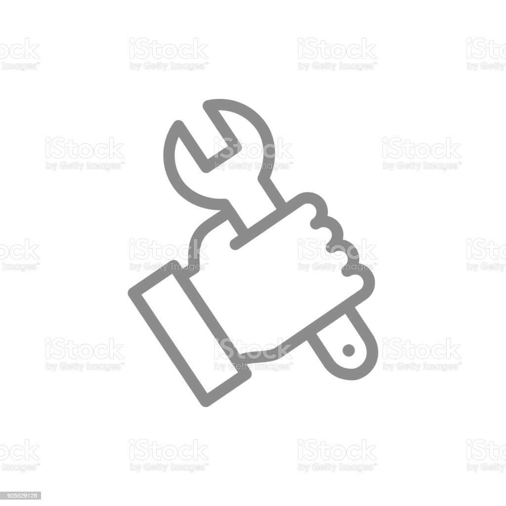 Simple wrench, spanner in hand line icon. Symbol and sign vector illustration design. Isolated on white background vector art illustration