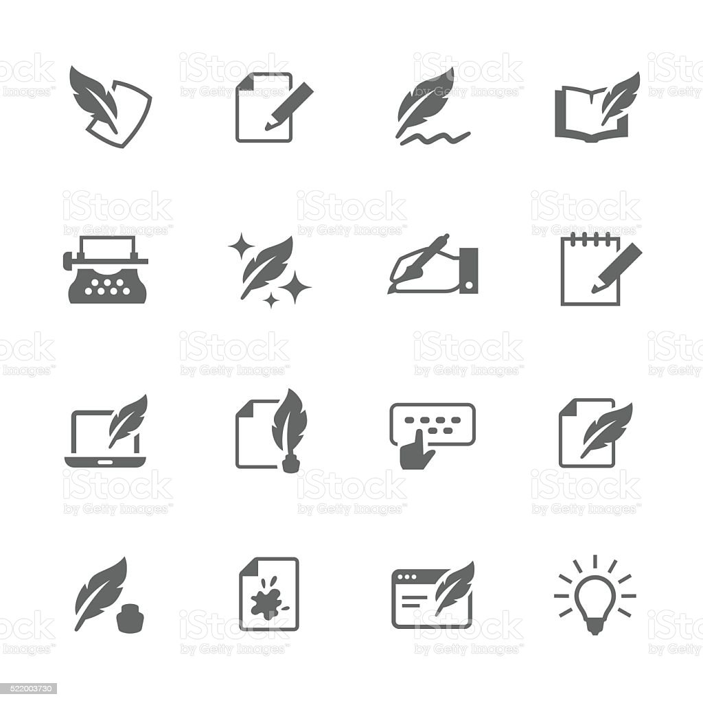 Simple Writing icons vector art illustration