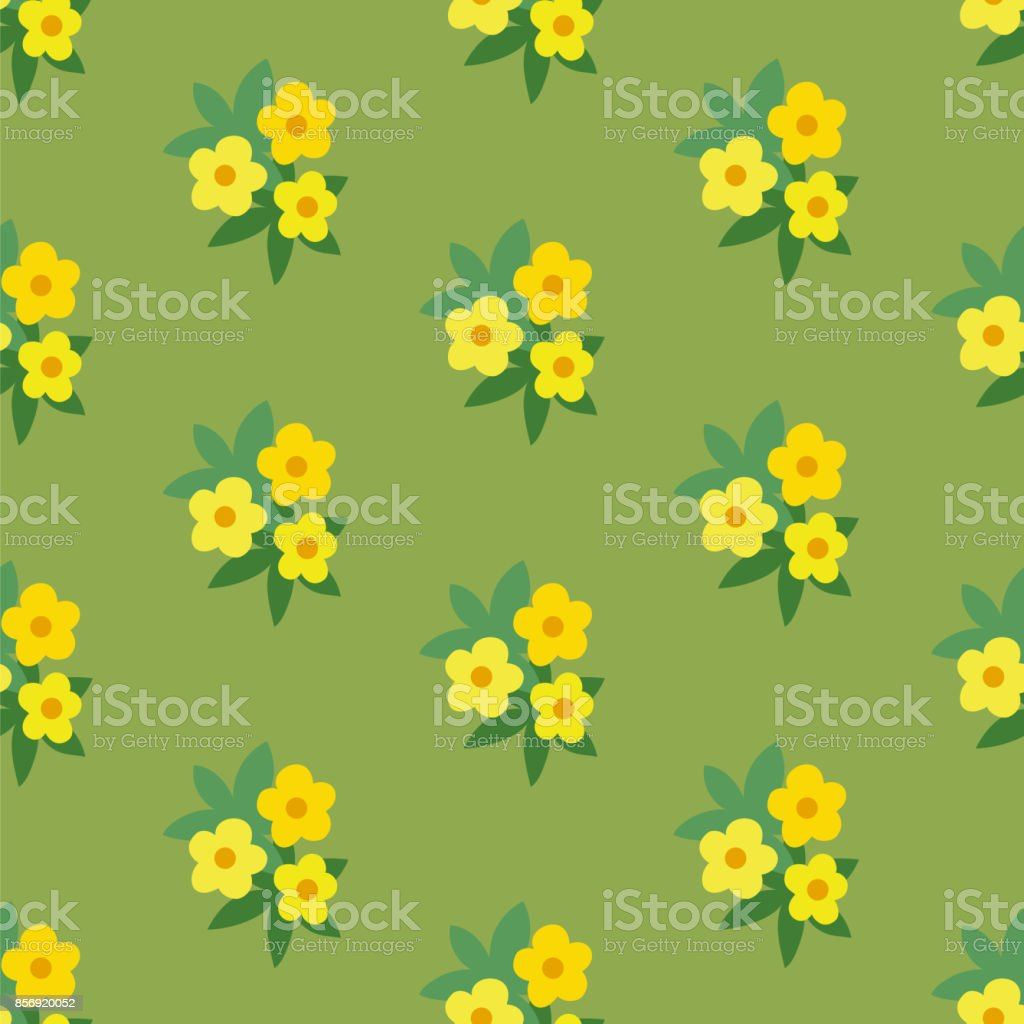 Simple yellow green floral seamless pattern vector art illustration