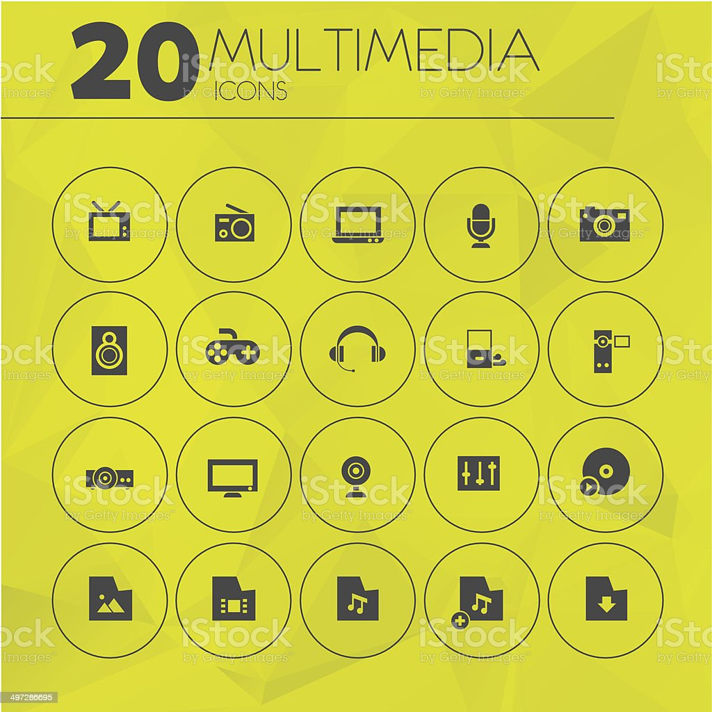Simple Yellow Thin Multimedia Icons vector art illustration