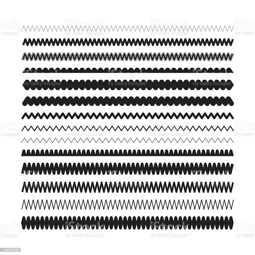 Simple zigzag, wavy underlines for selection vector art illustration