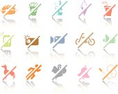 -Each icon is set on a different layer. Easy to edit. The  reflections underneath were created using linear gradients.