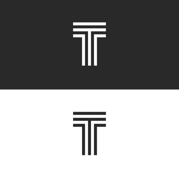 Simplest logo T letter monogram, capital letter initial linear minimal style typography design element, black and white parallel lines creative mark Simplest logo T letter monogram, capital letter initial linear minimal style typography design element, black and white parallel lines creative mark letter t stock illustrations