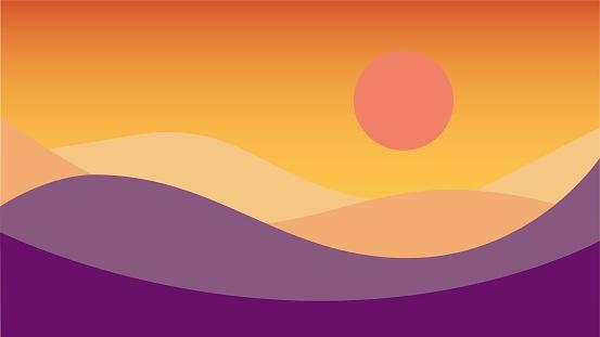 Simplicity desert sand dune landscape when sunset modern style wallpaper background. Vector illustration.