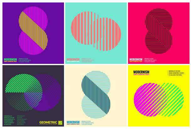 Simplicity Geometric Design Set Clean Lines and Forms Simplicity Geometric Design Set Clean Lines and Forms In multi colors and gradient backgrounds symbols stock illustrations