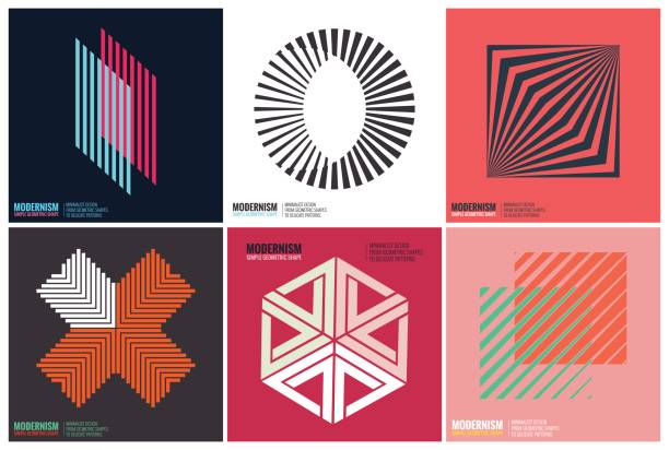 Simplicity Geometric Design Simplicity Geometric Design Set Clean Lines and Forms In Pink color swiss culture stock illustrations