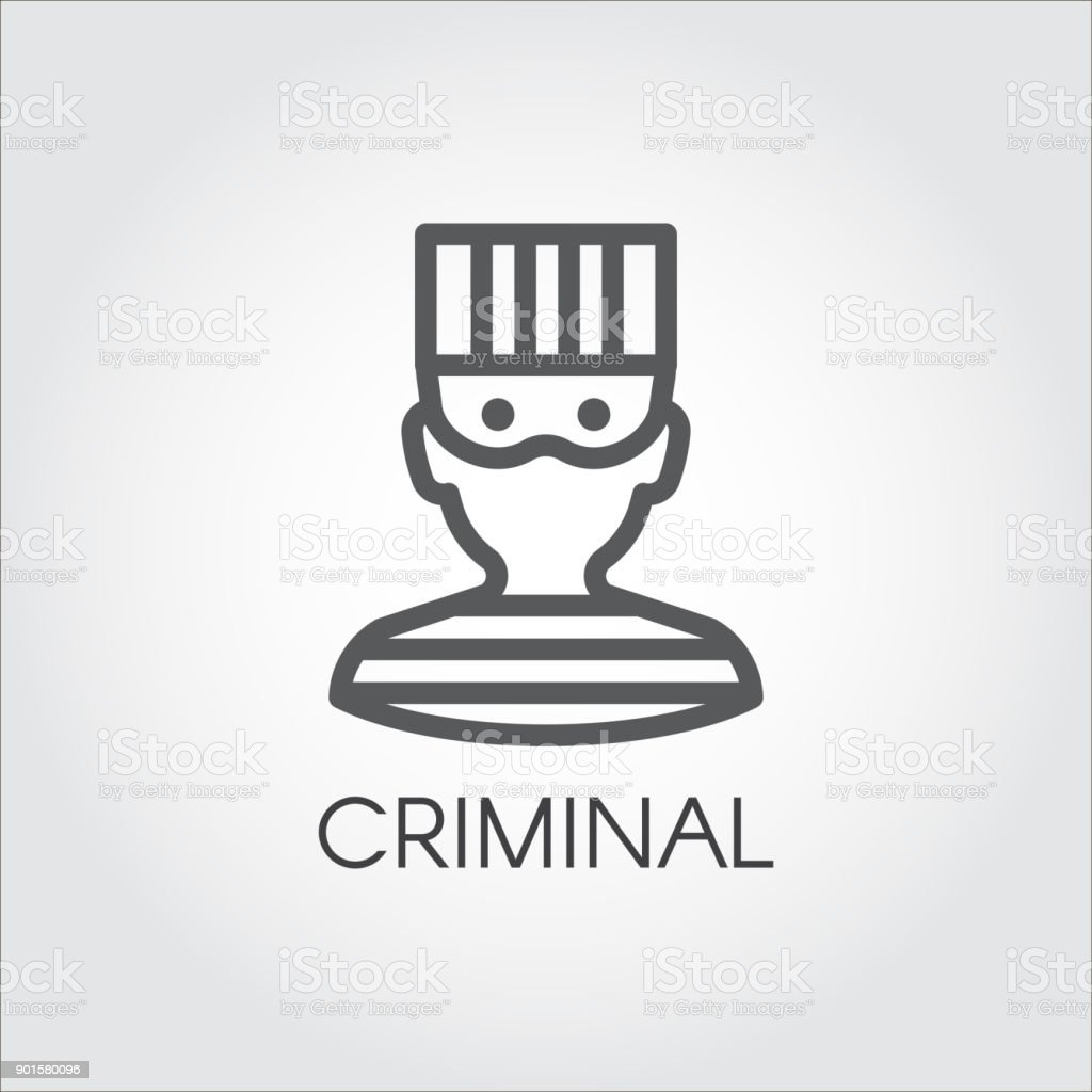 simplicity portrait of man in prison clothes logo drawing in outline
