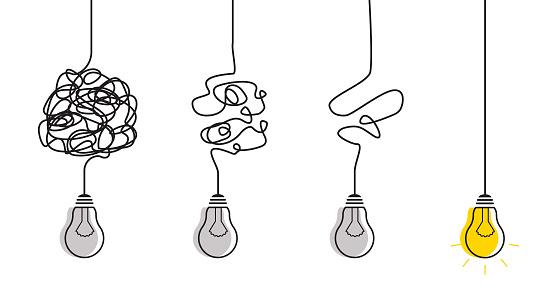 Simplification streamlining process with lightbulbs.