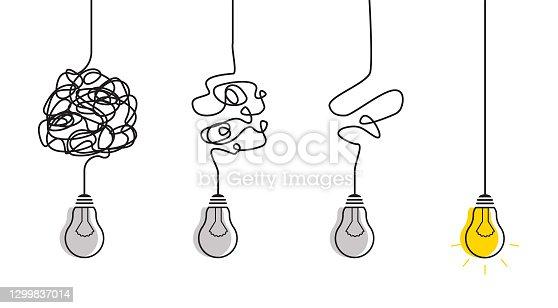 istock Simplification streamlining process with lightbulbs. 1299837014