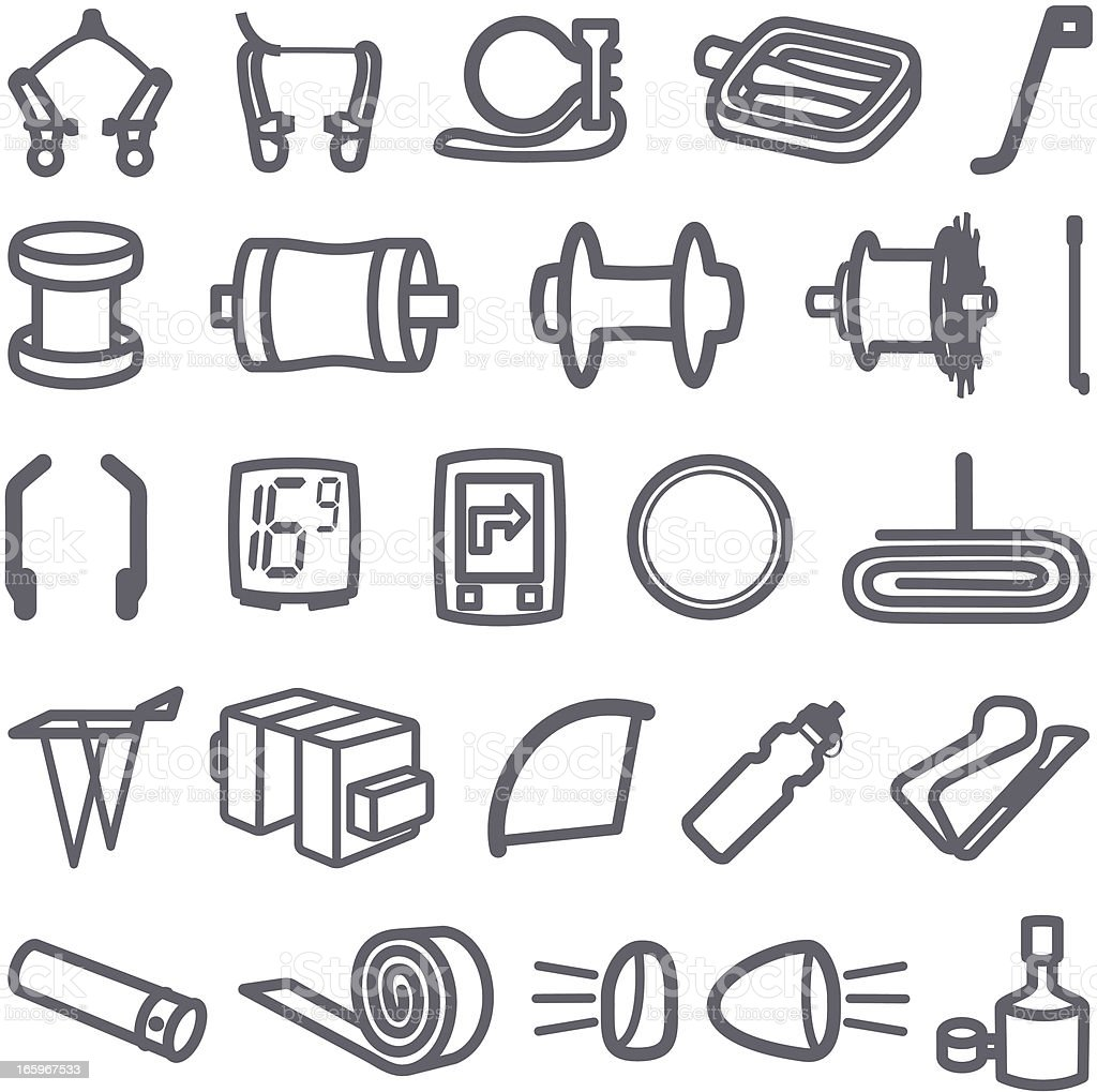 Simplified Bike Accessory Icons vector art illustration