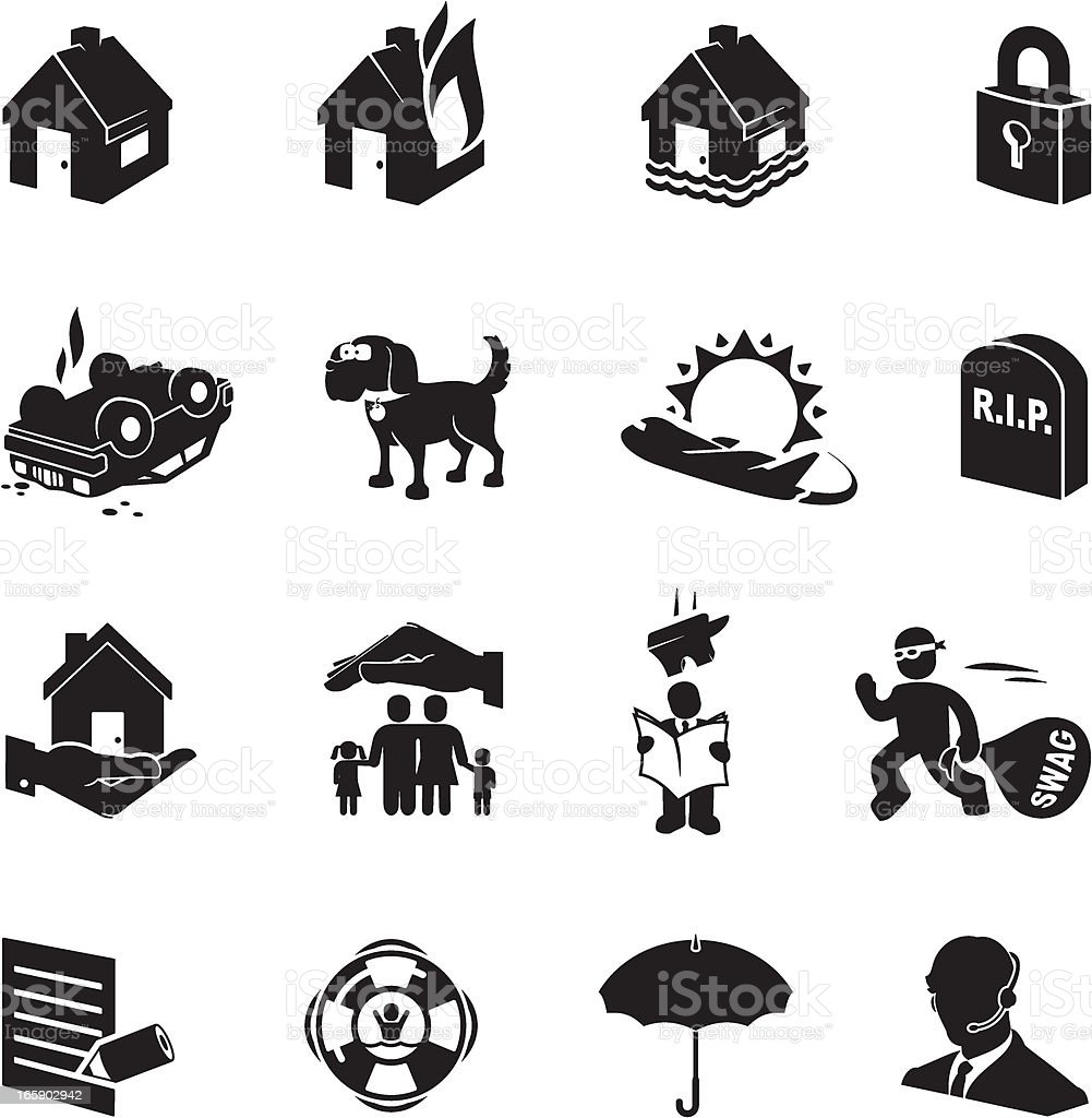 Simplified black and white icons related to insurance royalty-free stock vector art