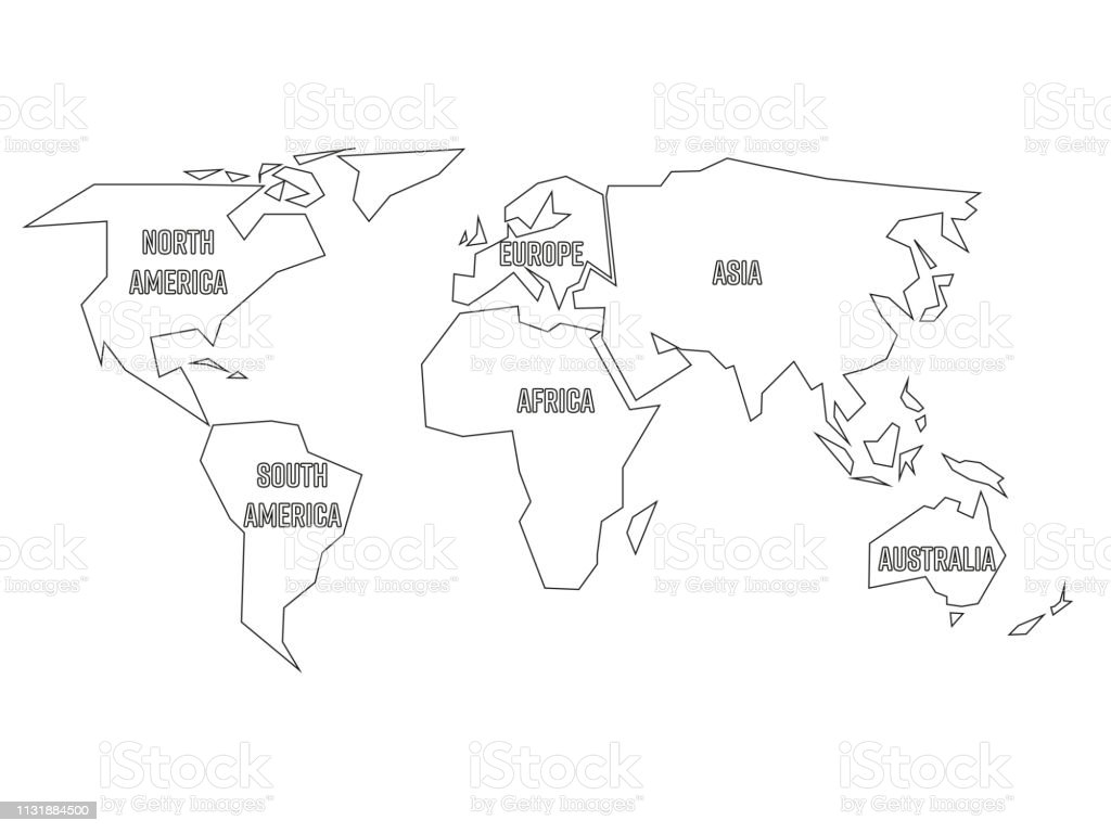 Image of: Simplified Black Outline Of World Map Divided To Six Continents Simple Flat Vector Illustration On White Background Stock Illustration Download Image Now Istock