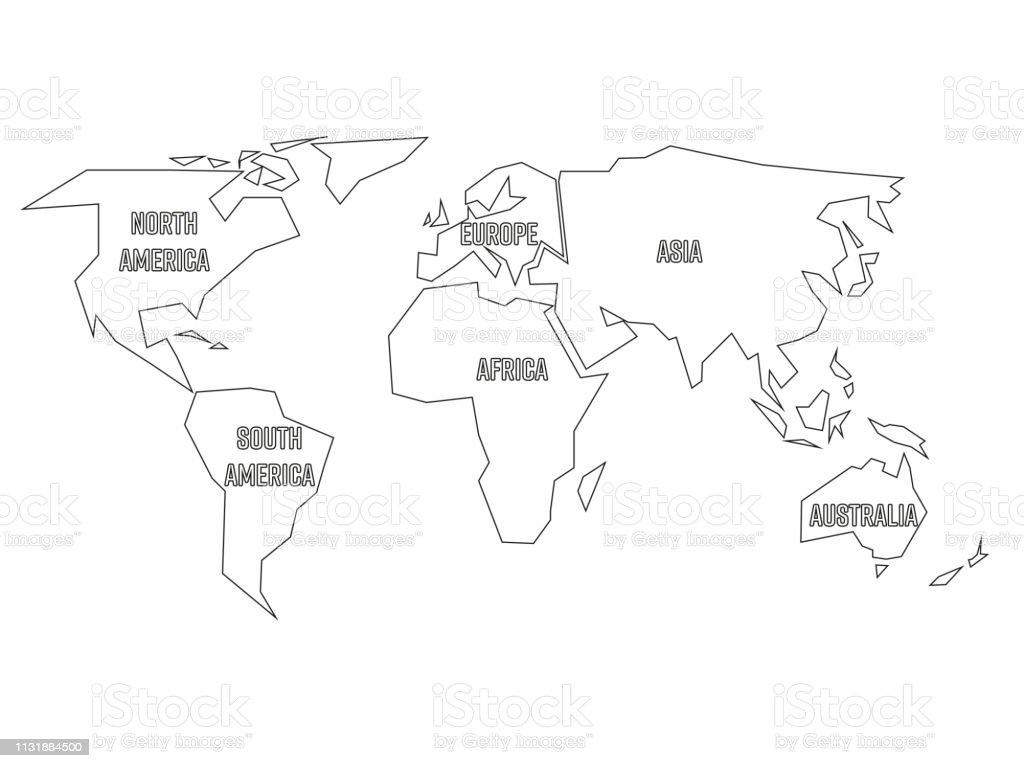 Vereinfachte Schwarze Umrisse Der Weltkarte Die Auf Sechs Kontinente Aufgeteilt Ist Einfache Flache Vektordarstellung Auf Weißem Hintergrund Stock