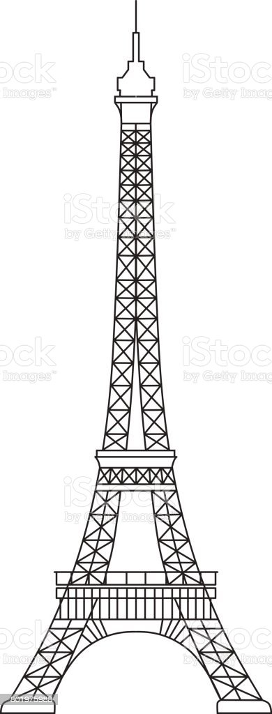 Simplified Illustration Of Eiffel Tower Symbol Of Paris And France