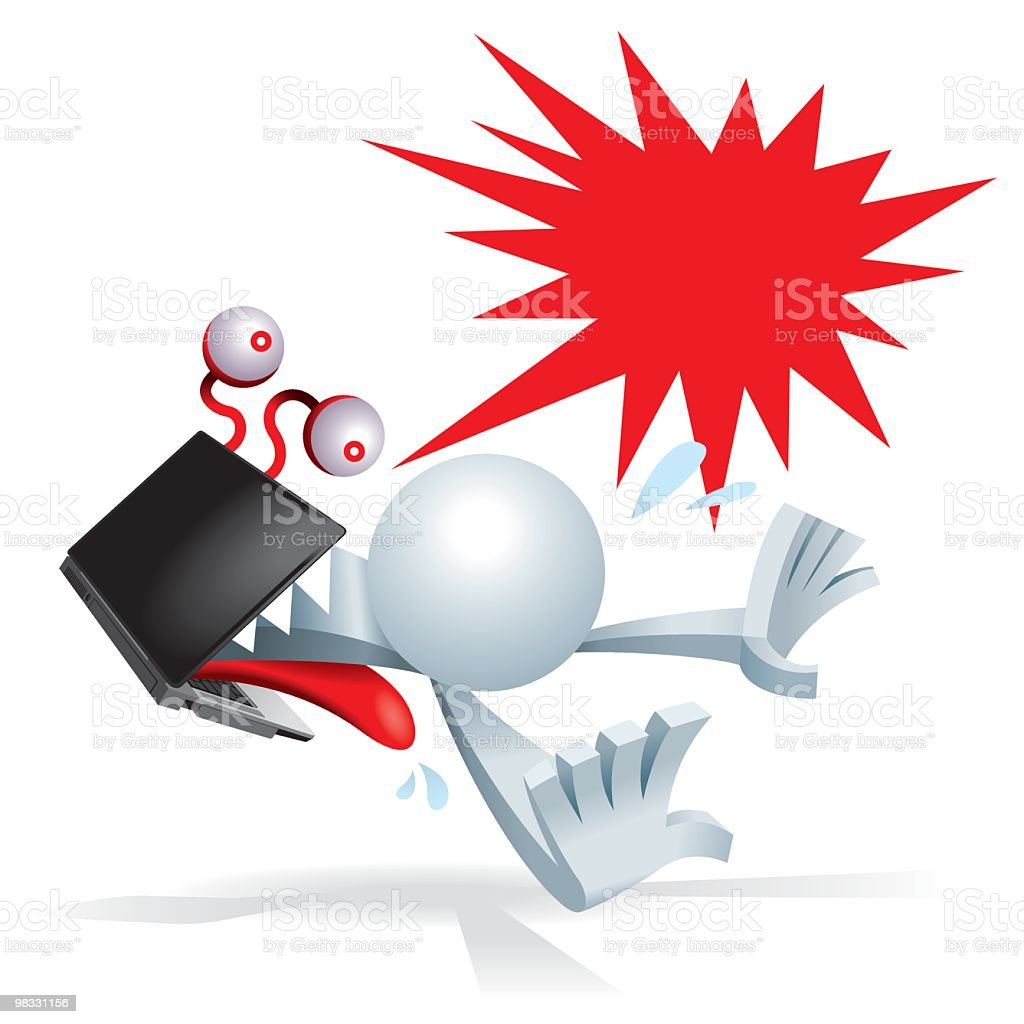 Simplified man attack by laptop monster royalty-free simplified man attack by laptop monster stock vector art & more images of adult