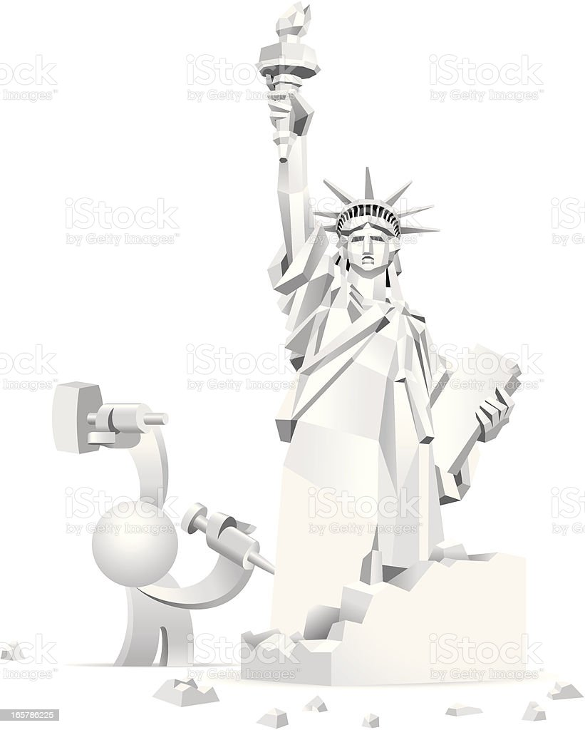Simplified man Carving A Rough Statue of Liberty Sculpture royalty-free simplified man carving a rough statue of liberty sculpture stock vector art & more images of adult