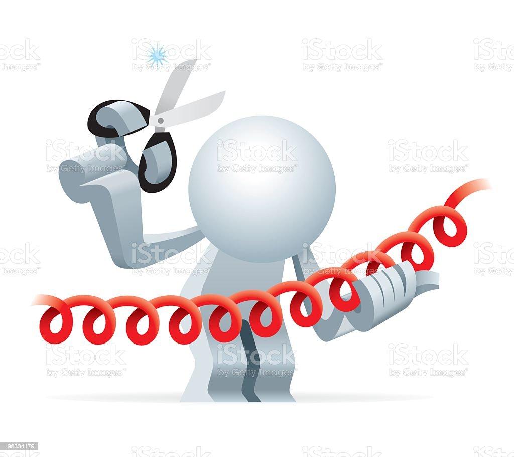 Semplificato uomo Tagliare la linea telefonica semplificato uomo tagliare la linea telefonica - immagini vettoriali stock e altre immagini di adulto royalty-free