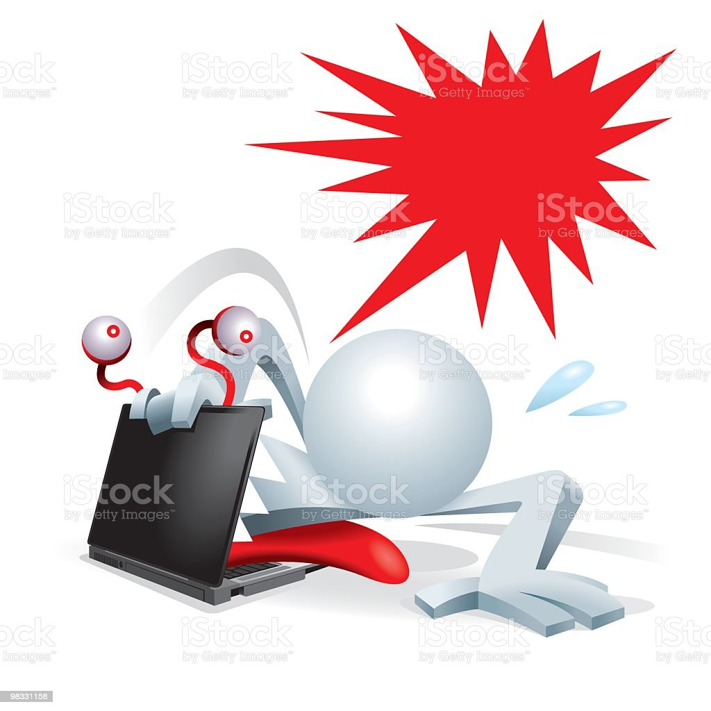 Simplified man escape from the evil monster laptop royalty-free simplified man escape from the evil monster laptop stock vector art & more images of adult