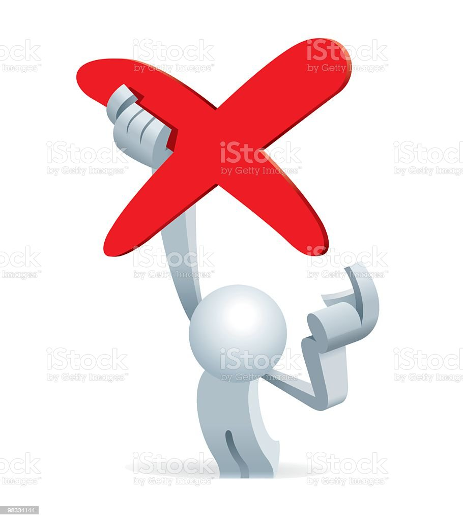 Simplified man Holding A No Sign royalty-free simplified man holding a no sign stock vector art & more images of adult