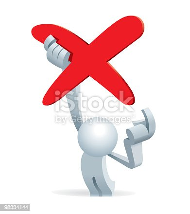 Simplified Man Holding A No Sign Stock Vector Art & More Images of Adult 98334144