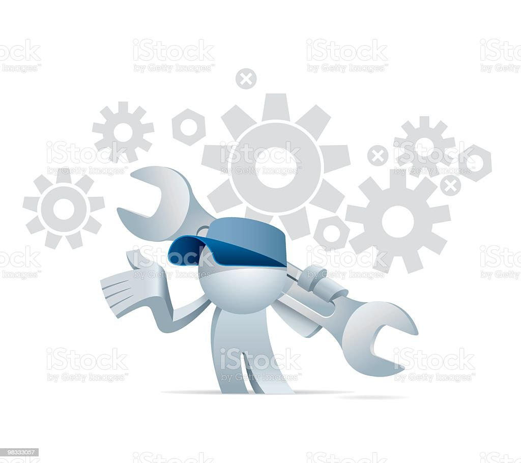 Simplified man is a Mechanic royalty-free simplified man is a mechanic stock vector art & more images of adult