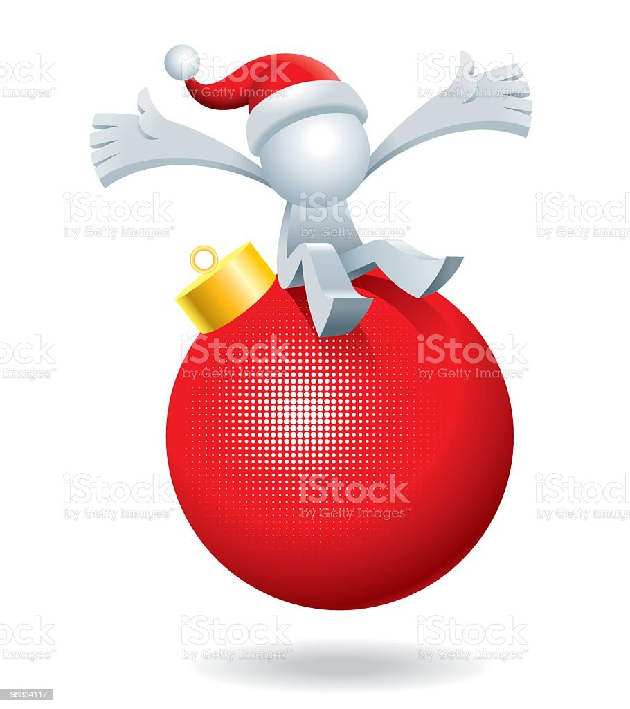 Simplified man On The Red Christmas Ball royalty-free simplified man on the red christmas ball stock vector art & more images of adult