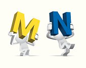 Two Cute little white Simplified man presenting the big giant alphabet M & N in yellow & blue color.