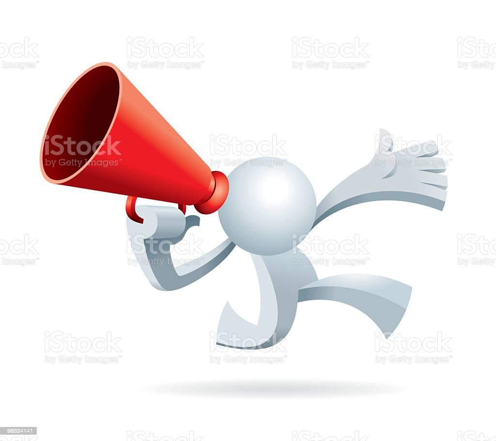 Simplified man Run and Shout Megaphone royalty-free simplified man run and shout megaphone stock vector art & more images of adult