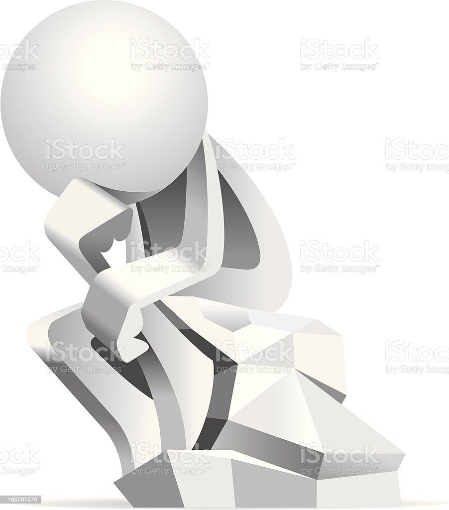 Simplified man The Thinker Sculpture royalty-free simplified man the thinker sculpture stock vector art & more images of adult