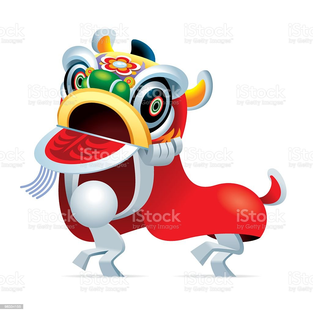 Simplified man Two Person Lion Dance