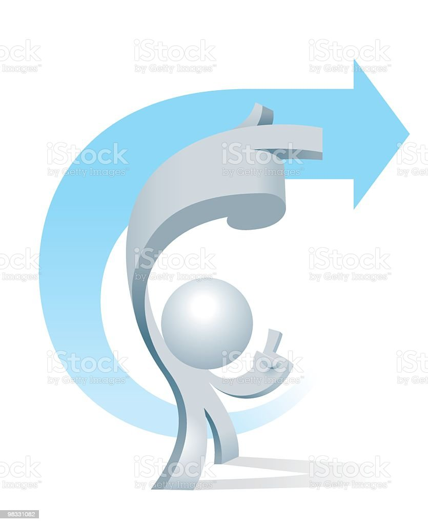Simplified man U-turn to Right royalty-free simplified man uturn to right stock vector art & more images of accessibility