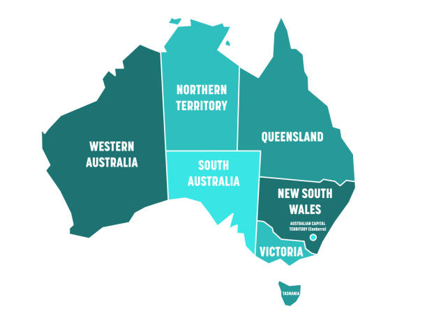 simplified map of australia divided into states and territories. turquoise blue flat map with white borders and white labels. vector illustration - western australia stock illustrations