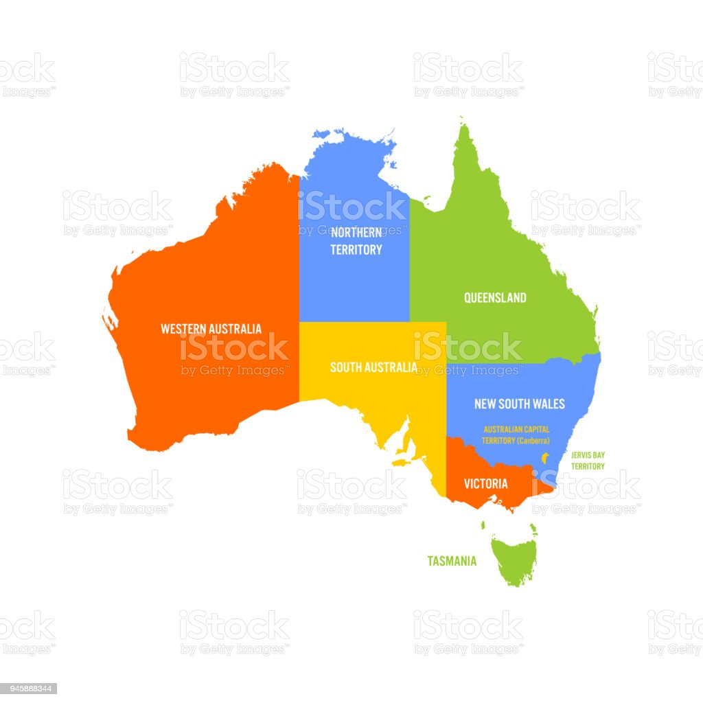 A Map Of Australia With The States.Simplified Map Of Australia Divided Into States And Territories Multicolored Flat Vector Map Stock Illustration Download Image Now