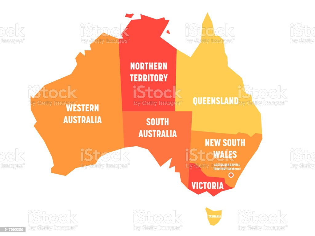 Simplified map of Australia divided into states and territories. Orange flat map with white labels. Vector illustration royalty-free simplified map of australia divided into states and territories orange flat map with white labels vector illustration stock illustration - download image now