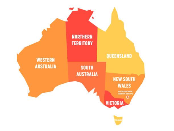 ilustraciones, imágenes clip art, dibujos animados e iconos de stock de mapa simplificado de australia se divide en estados y territorios. mapa plano naranja con etiquetas blancas. ilustración de vector - australia