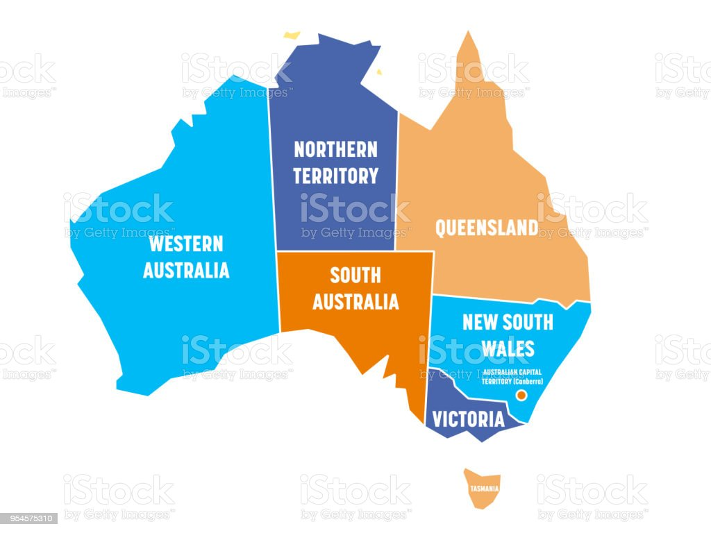 Australia Map Territories.Simplified Map Of Australia Divided Into States And Territories Four