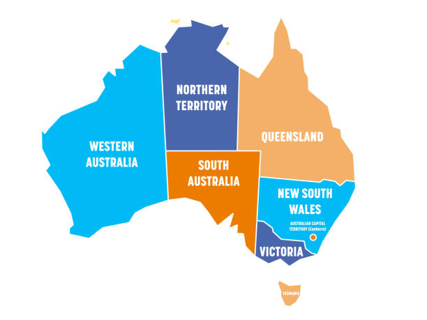 simplified map of australia divided into states and territories. four colors map with white borders and labels. vector illustration - western australia stock illustrations