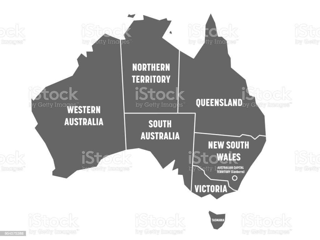 simplified map of australia divided into states and territories grey flat map with white borders
