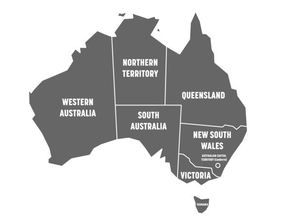 simplified map of australia divided into states and territories. grey flat map with white borders and white labels. vector illustration - western australia stock illustrations