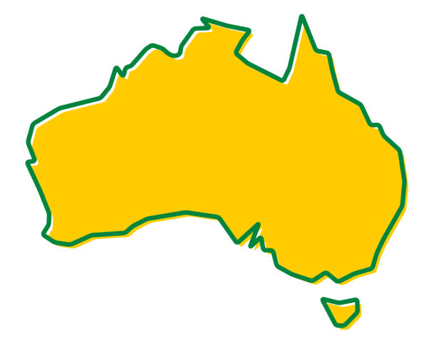 Simplified map of Australia outline. Fill and stroke are national colours. vector art illustration