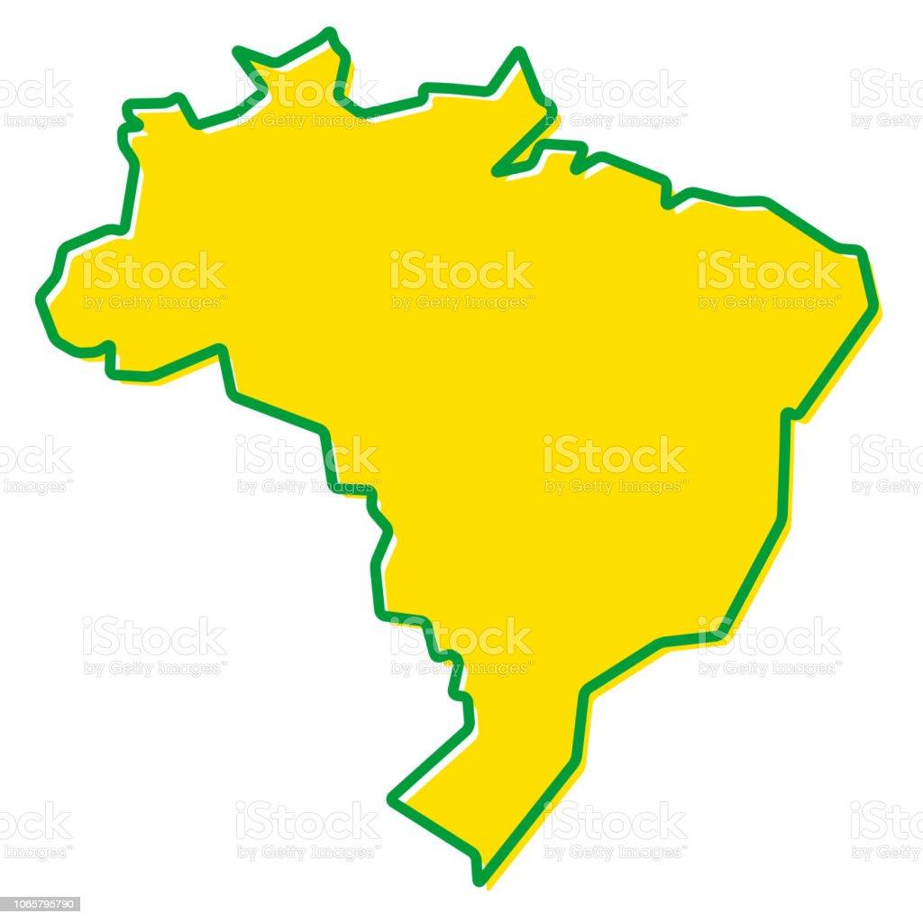 Mapa simplificado do contorno do Brasil. Preenchimento e traçado são as cores nacionais. - Vetor de Arte royalty-free
