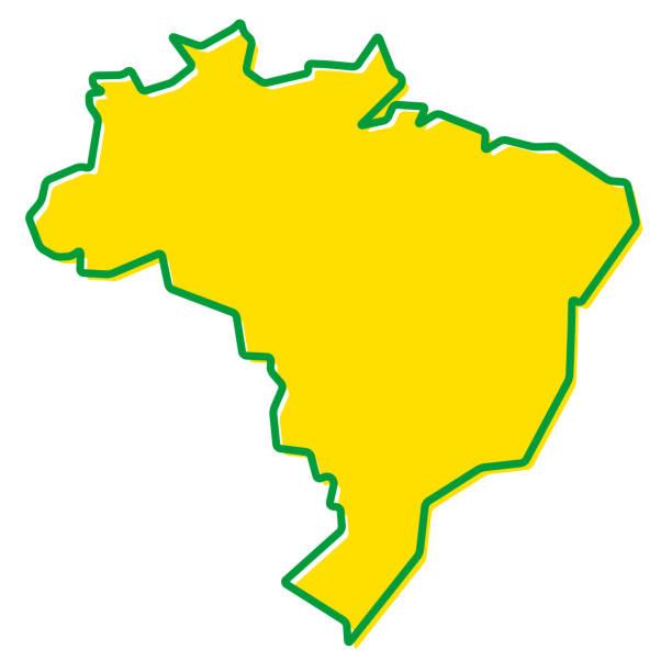 ilustrações, clipart, desenhos animados e ícones de mapa simplificado do contorno do brasil. preenchimento e traçado são as cores nacionais. - brazil
