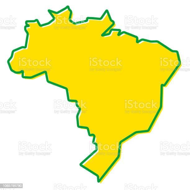 Vetores de Mapa Simplificado Do Contorno Do Brasil Preenchimento E Traçado São As Cores Nacionais e mais imagens de Arte